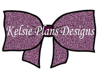 Fancy Bow - Purple Glitter