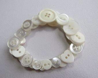 White upcycled button bracelet