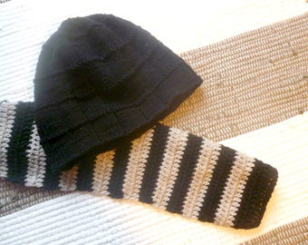 Hand Knit Hat for Men, Black beanie, black hat, handmade knitted hat for women, stylish beanie, slouchy beanie