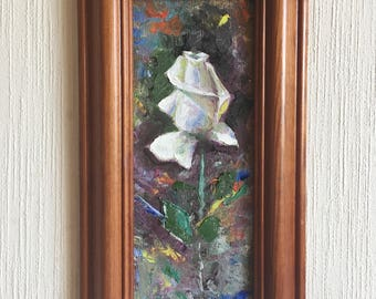 White Rose Painting Oil Canvas / White Rose Painting on Canvas / White Flowers Painting / Single Rose Art