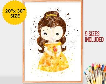 Baby Belle Beauty, Disney Princess, Belle Beauty and the Beast, Wall Art, Disney Art, Watercolor Art Print, Disney Poster, Kids Decor