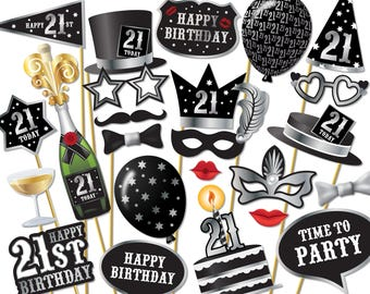 21st birthday Photo Booth props - Instant Download printable PDF. 21st birthday party decorations. Photobooth supplies. 21 Today - 0197