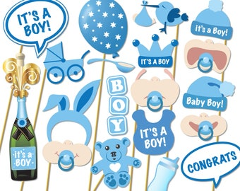 Baby Shower Photo Props - It's a Boy Photo Booth Props - Printable Photo Booth Props - Baby Boy Printable Party Props - 0162