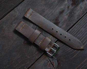 Watch Strap Horween Chromexcel in brown color 20mm, 22mm. With stainless buckle included.