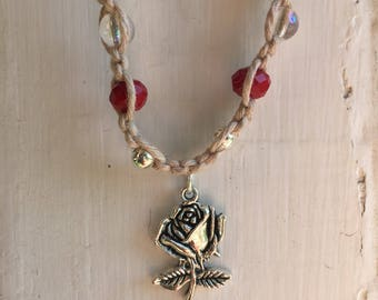 Beauty and the beast themed rose hemp necklace/choker with glass and silver plated beads and silvertone rose pendant