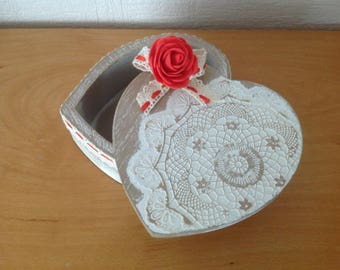 box in rustic heart shaped box