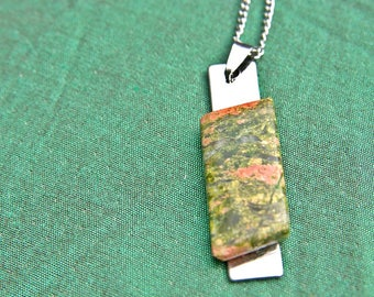 Unakite Pendant with Stainless Steel Chain, Unakite Pendant, Unakite Necklace, Unakite Gemstone, Unakite Jewelry, Crystal healing, stones
