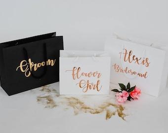 Bridesmaid gift bag, groom gift bag, flower girl gift bag