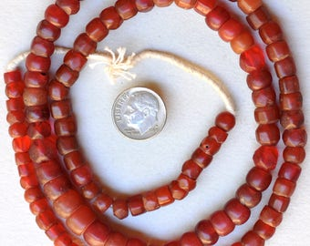 28 Inch Strand of Antique Bohemian Glass Carnelian Beads - Vintage African Trade Beads - #BO148