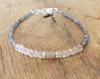 Rose Quartz Jewelry Light Pink Dainty gemstone Bracelet Natural Gemstone Beaded Bracelet Small Bead Bracelet Woman Crystal Bridal Shower