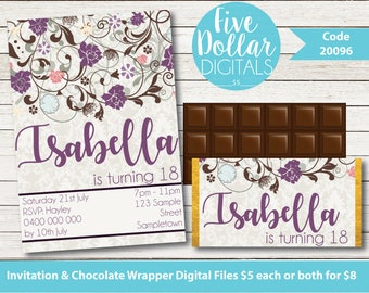 Purple Floral Personalised Digital Birthday Invitation & Chocolate Candy Bar Wrapper Printable