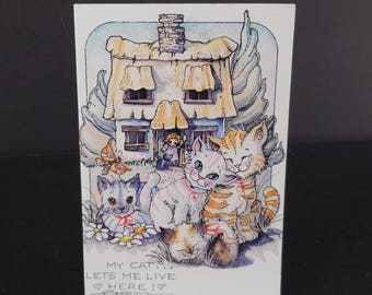 Jody Bergsma Galleries Art Print Fridge Magnet / Kitty Cats House / My Cat Lets Me Live Here / Vintage 1992