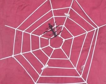 Halloween welded metal spider in his web
