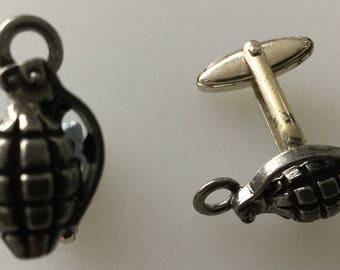Hand Grenade Handmade Pewter Cufflink Set Boxed