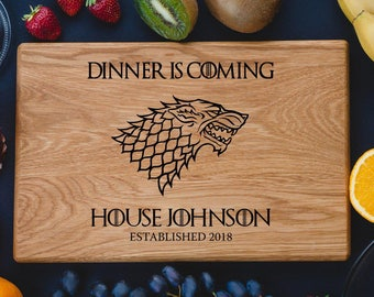 Game of Thrones Personalized cutting board  Cutting Board House Stark DireWolf Dinner is coming Custom cutting boards Anniversary Gifts