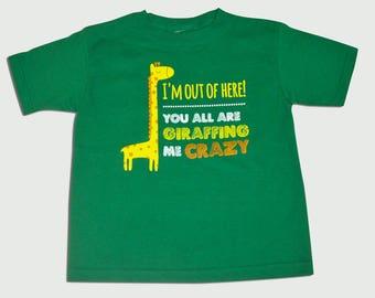 Green 'GIRAFFING ME CRAZY' Tee
