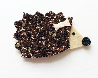 Glitter hedgehog hair clip OR headband