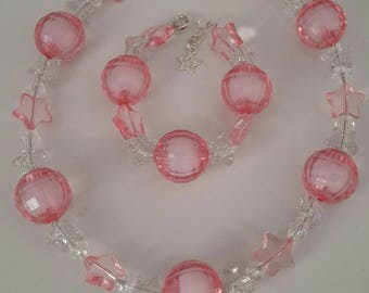 girls childrens Necklace, pink Chunky Necklace, Statement Necklace, Children's Necklace, Girl's Necklace, Beaded Necklace, kids jewellery