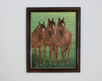 Oil painting horses 48 x 58 cm Sabine Neubarth Wamono original contemporary