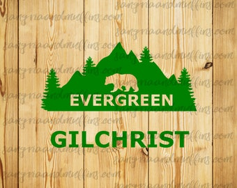 CUSTOM Evergreen Bear Mountain scape Gilchrist decal