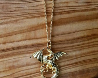 Gold Dragon Necklace - Mother of dragons necklace - large dragon necklace