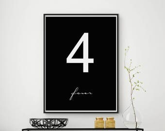 Number four wall art, Number Four, Number 4 print, Number Poster, Typography Print, Scandinavian Wall Art, Office Decor, Number Print