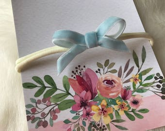 CLEARANCE Baby Blue Velvet Ribbon Bow Nylon Baby Headband