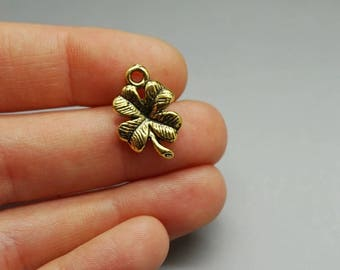 Set of 10 gold color (S11) luck 4 leaf clover charms