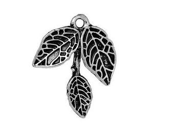 SET of 5 charms branch 3 Silver leaves (A37)