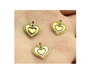 SET of 3 heart in heart charm gold love (S40)