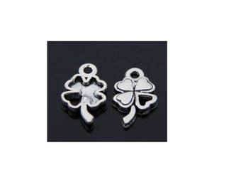 set of 10 Silver Flower (C08) lucky 4 leaf clover charms