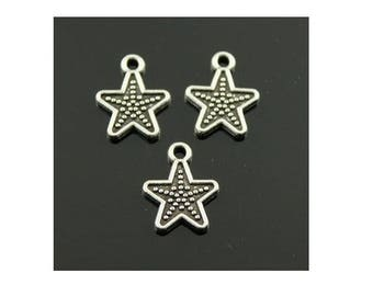 Set of 6 silver tone (B67) Star charms