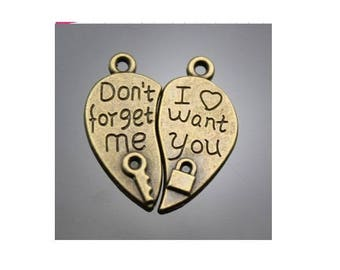 Set of 5 charms in two separate heart gift ' t forget me / I want you bronze (T45)