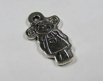 SET of 5 kids charm daughter little girl 28mm Silver (A43)