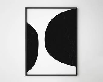 Black Circles print, Abstract black circles, Abstract print, Black and white, Geometrical, Minimal print, Scandinavian design, Wall art