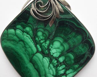 Huge Malachite necklace | Malachite Pendant jewelry | Genuine Malachite | Green stone | Gift for her