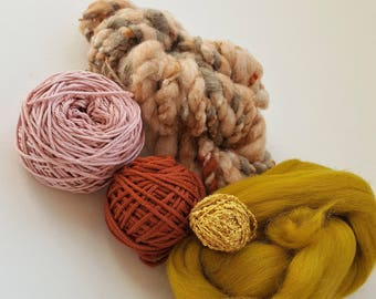 Weaving pack, yarn kit, diy weaving kit, woven wall hanging, yarn for weaving, fiber yarn kit, weaving loom, merino roving