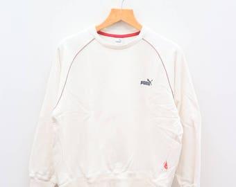 Vintage PUMA Sportswear White Sweater Sweatshirt Size L