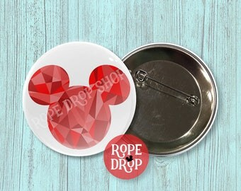 """Red Geometric Mickey Mouse Icon - Disney Button - 2.25"""""""