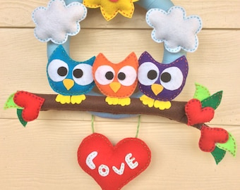 door and room decorations handmade felt door felt door wreath Door Hanger
