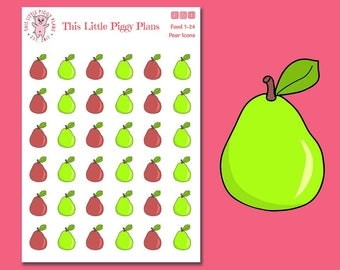 Pears Planner Stickers - Pears Stickers - Fruit Stickers - Pears - Fall Planner Stickers - Food Stickers - Fruit - [Food 1-24]