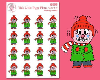 Shivering Oinkers - Freezing Cold - Planner Stickers - Winter Weather - Emoji Stickers - Ice Cold - Brrrr - Cold Weather - [Winter 1-02]