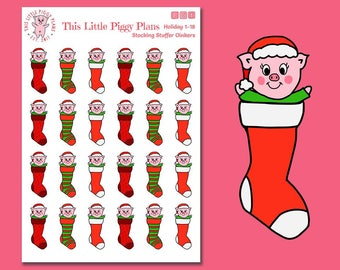 Stocking Stuffer Oinkers - Stocking Stuffer Stickers - Planner Stickers - Christmas Stickers - Holiday Stickers - Stockings - [Holiday 1-18]