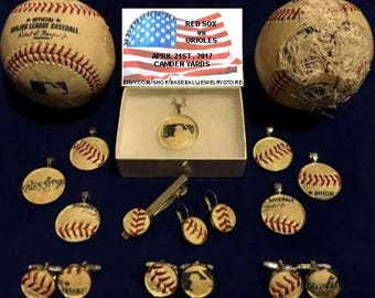 Baltimore Orioles jewelry made from MLB authenticated game used baseball : cufflinks earrings pendants tie clip