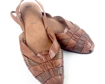 VTG huarache sandals brown genuine leather flat shoes strapy womens mexican