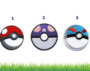 Pokeball, Masterball ,Greatball Patches - Pokemon Patch Applique Embroidered Iron on Patch