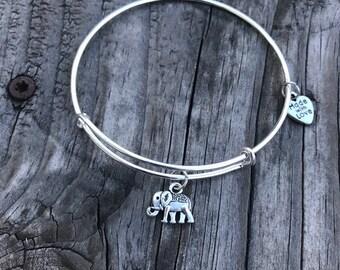 Elephant bangle, elephant jewelry, elephant bracelet, elephant charm, personalized bracelet, gifts for her, expandable