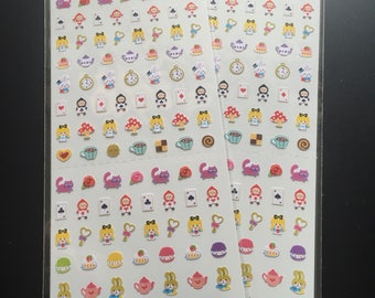 Tiny Planner Stickers • Alice in Wonderland • Cat • Rabbit • Clock • Playing Card • Rose • Tea • Biscuit • Cake • Soldiers • Wand