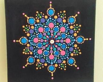 Turquoise Mandala painting, original art , acrylic on canvas, psychedelic, eastern, Buddhist, hippy, boho, wall  art, gift,  ready to hang.