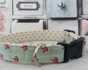 Floral Dog Collar | Dog Collar | Girl Dog Collar | Adjustable Dog Collar | Puppy Collar | Fabric Dog Collar | Green Dog Collar | Dog Lead